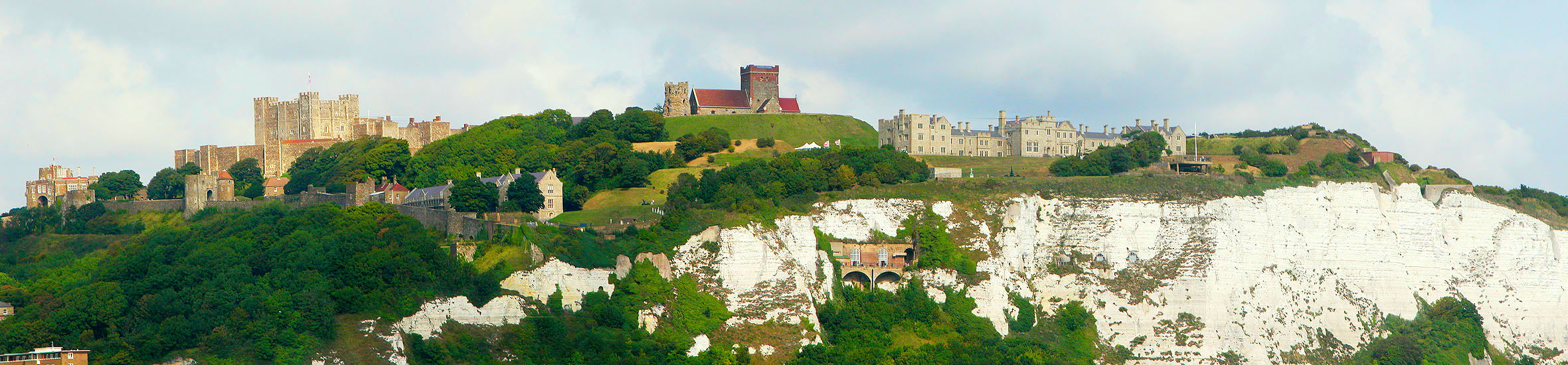 Dover castle kent uk originally saxon burnt down by the view of the castle from the english channel including the famous white cliffs sciox Image collections